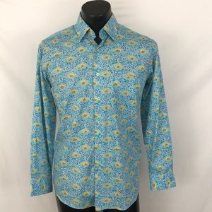 Alan Flusser Shirts - Alan Flusser mens Button Up Shirt Blue S Novelty